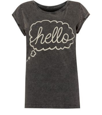 Grey Hello T-Shirt -for a lazy day