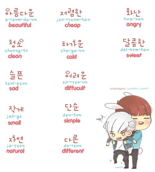 ❋learn korean - words 2 (hoonsena.tumblr.com):