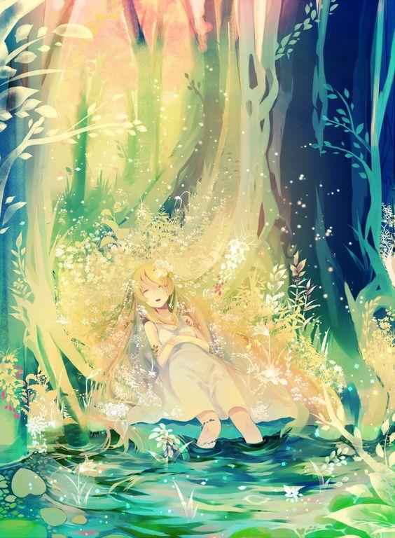 anime girl with plants