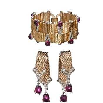 Signed Boucher Set, Includes Bracelet and Earrings, $1200