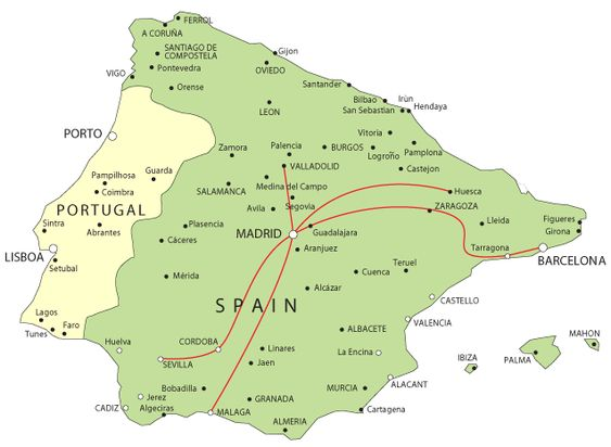 map of AVE train connections in Spain Spain 2014 – Train Travel In Spain Map
