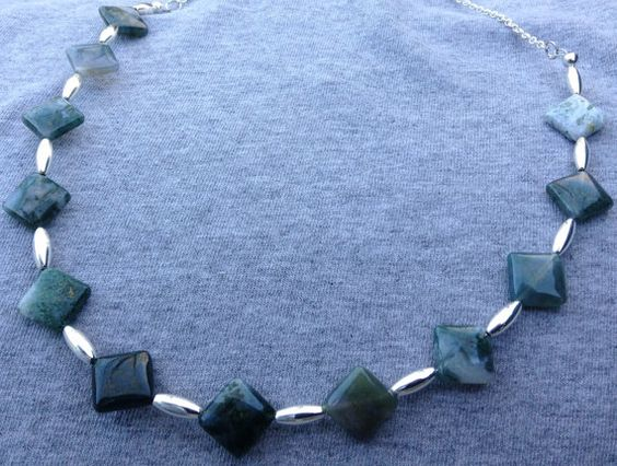 Pine Jasper Diamonds and Silver Tubes Necklace by BeriMadeJewelry, $25.00