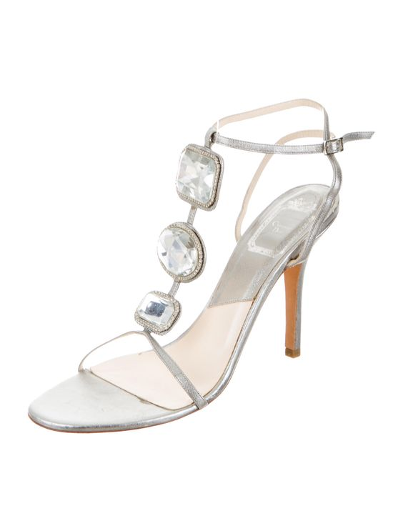Christian Dior Jewel Embellished Metallic Sandals - Shoes - CHR38132 | The RealReal
