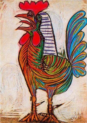 A rooster - Pablo Picasso. 1938. Naive Art (Primitive). Pastel on paper, 77.5 x 54 cm. @ Private collection.: