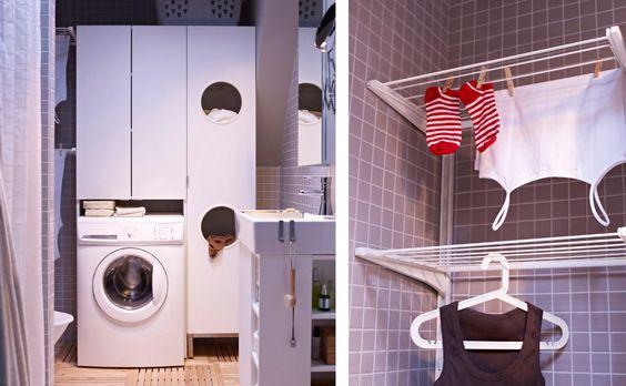 Badezimmer; Badezimmer u a mit LILLÅNGEN Waschmaschinenschrank