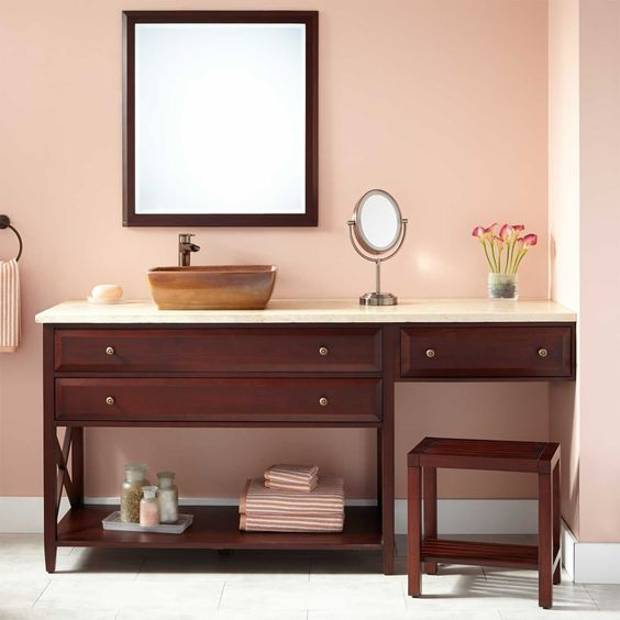 "72"" Glympton Vessel Sink Vanity with Makeup Area - Mahogany"