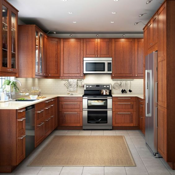 Kitchen Design Brown: Kitchen Design Brown U Shaped Kitchen Design With Led