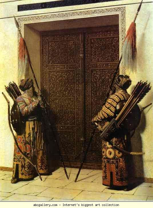 Turkic warriors guarding the Doors of Tamerlane. Tamerlane, anglicized form of Timur-i-Lang ('Lame Timur' or 'Timur the Lame') (1336-1404), was a Turkic conqueror, born in Kash near Samarkand. He waged several devastating wars, conquering Persia (1392-96) and northern India (1398), and defeating the Ottomans and the Mamlukes (1402):