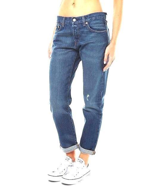 Ladies Womens Blue Fashion Denim Style Ripped Boyfriend Jeans Trousers UK8-14