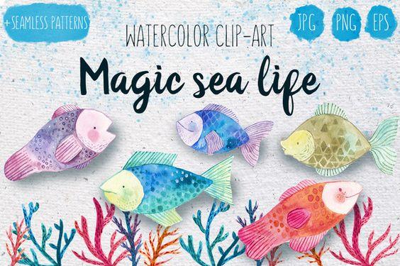 Magic sea life watercolor set by Maria Sem on @creativemarket