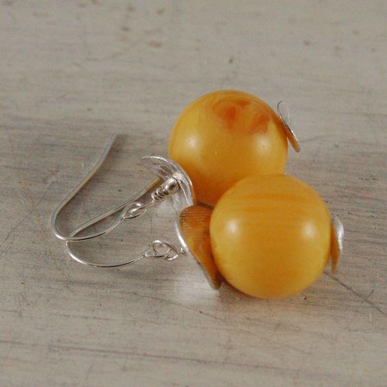 Copal Amber Earrings Yellow Earrings Sterling Silver