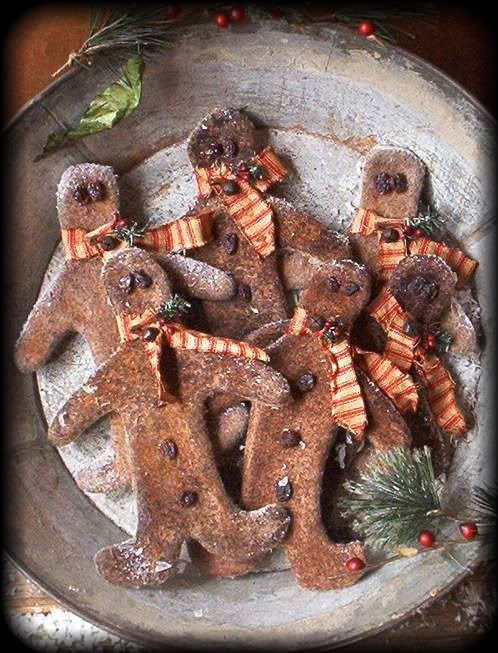 primitive gingerbread boy ornies from The Old Glory Company...e-pattern $7.00