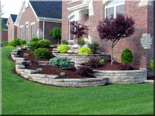 One can only dream landscape sloped lawn landscape for Front yard slope landscaping ideas