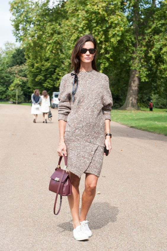 Pin for Later: The Best of Paris Fashion Week Street Style (Updated!) LFW Street Style Day 4 Hedvig Opshaug dressed up a sweater dress with a structured satchel.