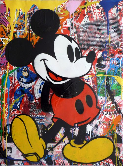 Mickey mouse mice and holiday gifts on pinterest for Mural painted by street artist mr brainwash