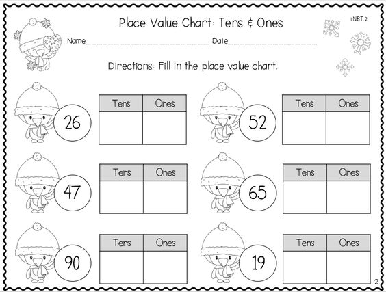 winter place value practice sheets tens and ones pinterest common core standards place. Black Bedroom Furniture Sets. Home Design Ideas