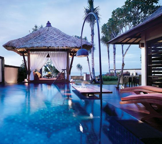 Strand villas at The St. Regis Bali #Bali Resort all have private access to the ocean and furnished gazebos! What a perfect honeymoon! #honeymoons