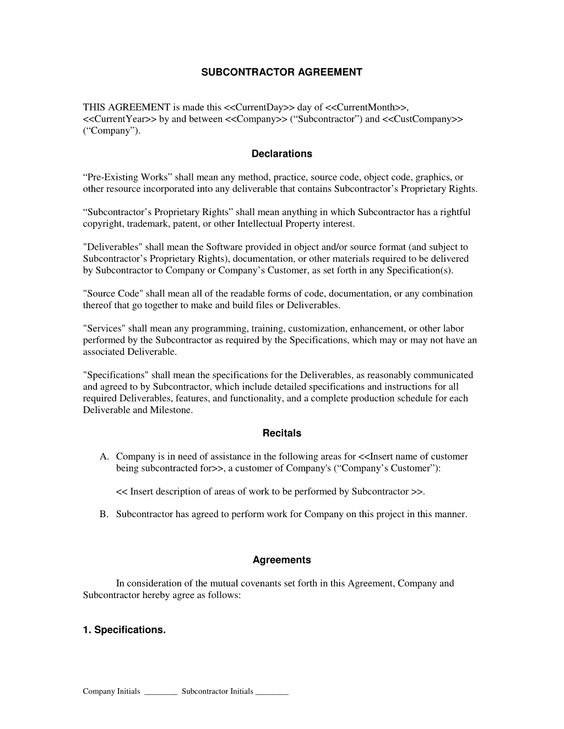 Subcontractor Long Form Contract  Contractor and Employee - subcontractor contract template