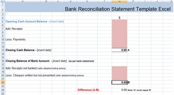 Pin by Techniology on Bank Reconciliation Statement Template Excel - cash memo format in word