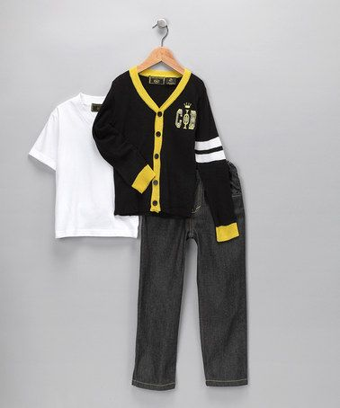 College Boyys Black & Yellow Cardigan Set on #zulily!