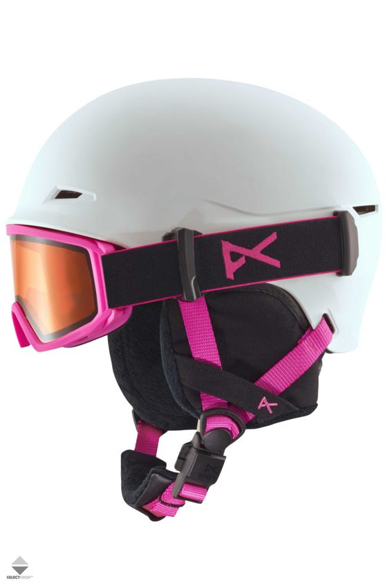 Kask Gogle Snowboardowe Dzieciece Anon Define White Pink 15235100134 Helmet Snowboard Bicycle Helmet
