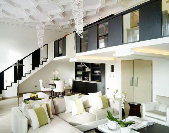 Kelly Hoppen living room with lime green accents.