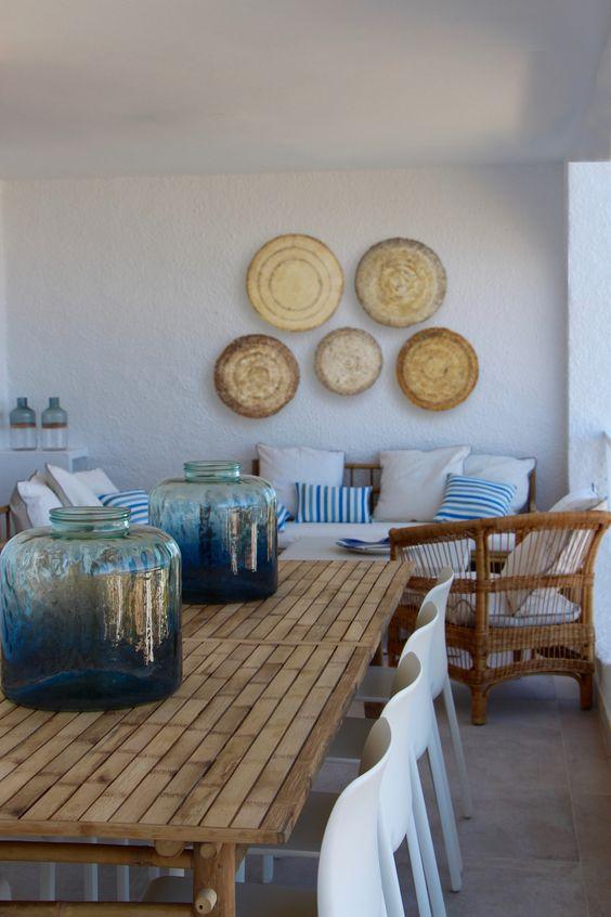 Terraza casa playa www.mercaderdeindias.com. COME SEE MORE Rustic Spanish Villa Interior Design Inspiration!