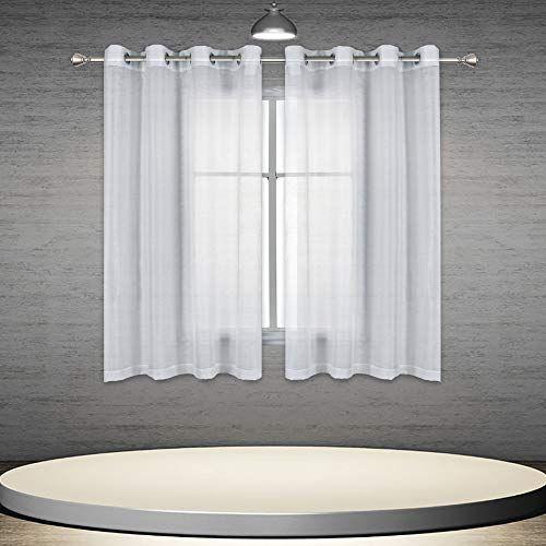 Donren 45 Inch White Sheer Curtains Luxury Soft Short Semi Sheer