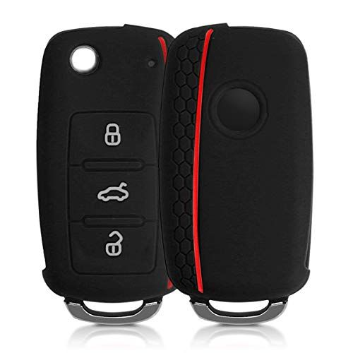 Kwmobile Car Key Cover Compatible With Vw Skoda Seat 3 Button Car Key Silicone Protective K Car Key Fob Key Covers Skoda