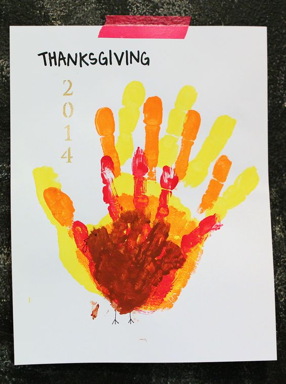 Hand turkey made with each family members' hand - makes a great keepsake - Doing this while my kids are still young!