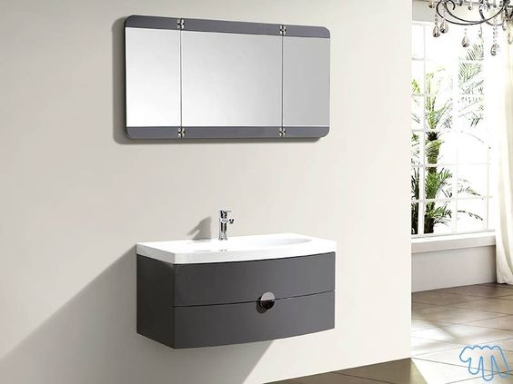 Salle de bain design Gris laqué Miroir triptyque LOFOTEN Salles de - salle de bains design photos