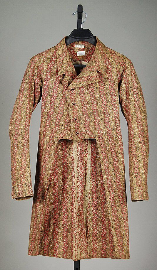 American morning frock coat, 2nd quarter 19th century; cotton: So much for the notion Victorian fabrics were drab. This coat probably inspired a whole line of 1970s lounge-lizard attire. (Brooklyn Museum Costume Collection at The Metropolitan Museum of Art)
