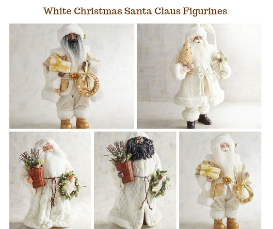 White Christmas Santa Claus Figurines