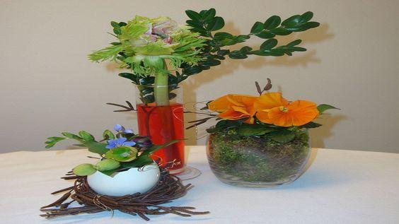 Tischdekoration für Ostern. Osterdekoration : Ostergestecke mit Moos und Frühlingsblumen für den Osterbrunch dekorieren. ❁ Video Anleitung DIY