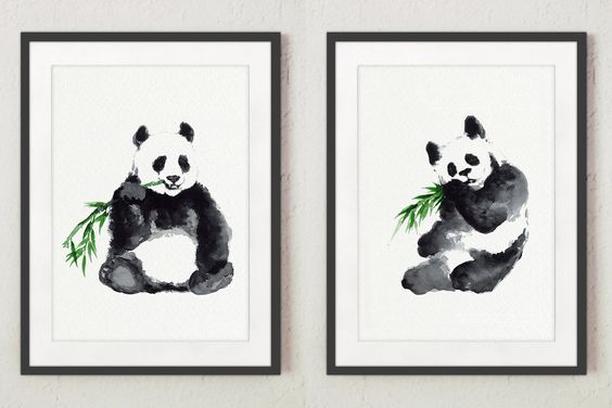 Set of 2,Panda Illustration, Animal Gift Idea, Bamboo Green Home Decor, Two Pandas Drawing, Watercolor Bear Painting by ColorWatercolor on Etsy