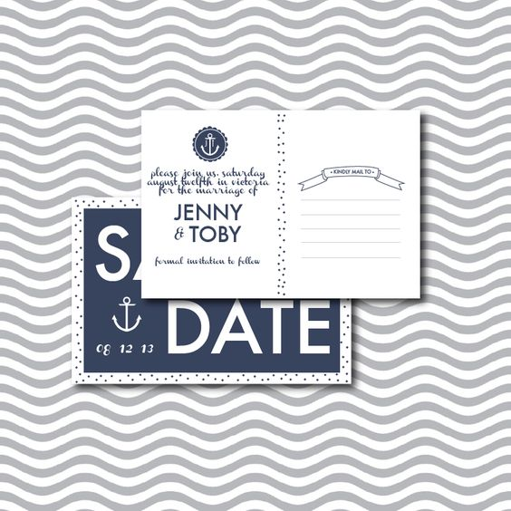 Printable Wedding Save the Date Postcard - So adorable, with our nautical theme! love the idea of a postcard or a magnet, but would want our picture on it somewhere.