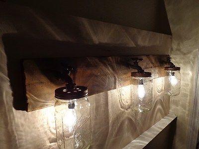 Primitive mason jar rustic bathroom vanity light fixture masons bathroom vanities and jars - Primitive bathroom vanity lights ...
