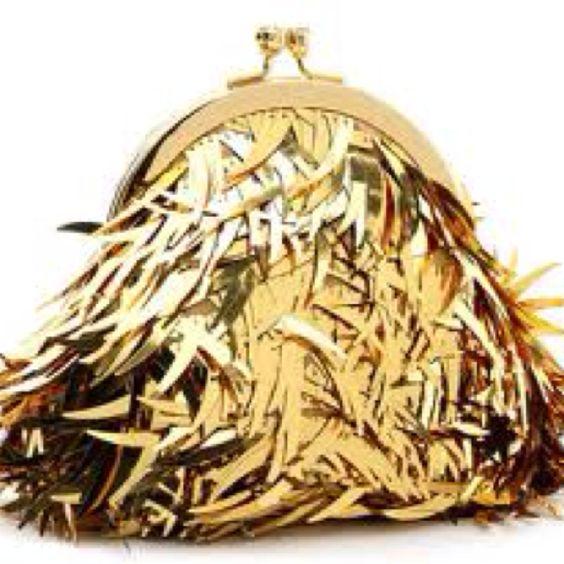 Gold fringe bag