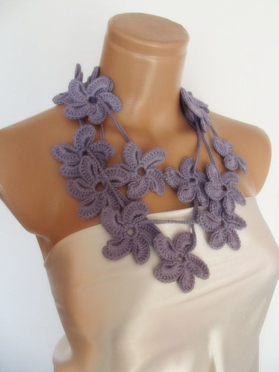 hand crocheted floral scarf lariat necklace by smilingpoet on Etsy, $21.90