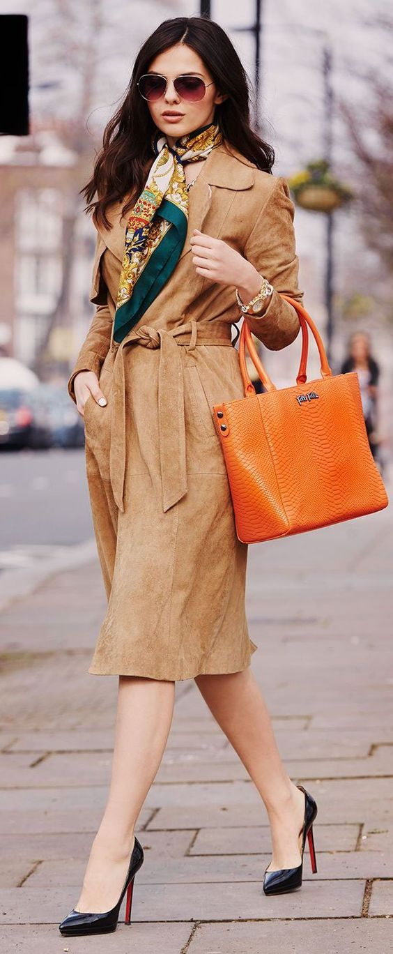Camel Suede Trench Chic Style by The Golden Diamonds
