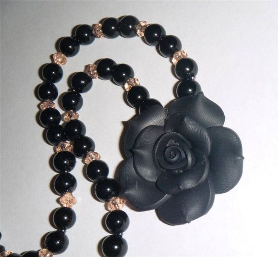 "Single black flower necklace, polymer clay rose & glass bead necklace 16.1/2"" long (42cm)"