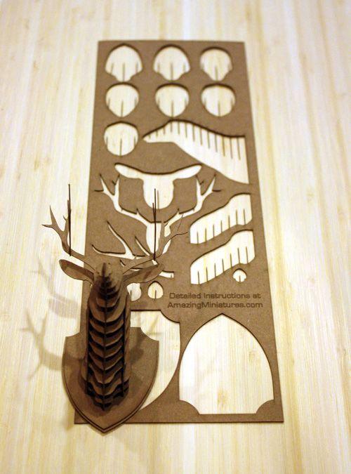 Patron et instructions pour assembler une mini tête de cerf en carton | carton | Pinterest ...