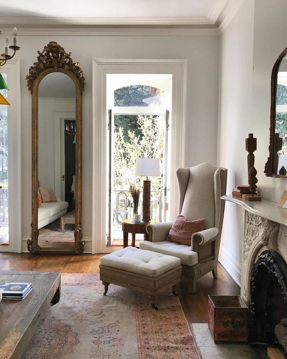 Parisian style living room with classic French decor. Beautiful Classically Refined Rooms