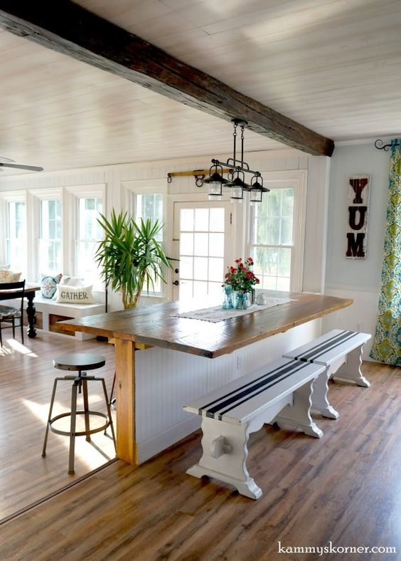 Diy built in breakfast bar dining table french doors open plan living and bar - Bar built into wall ...