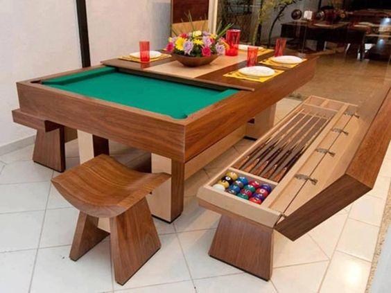 Resultado de imagem para aproveitamento de espaços mesa de jantar a bilhar