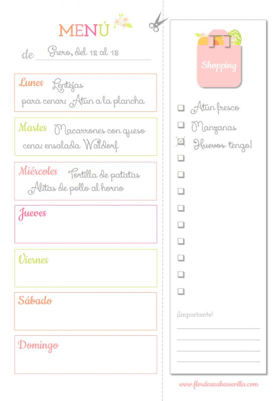 Planificador de recetas 2015 ¡Imprimible Gratis!