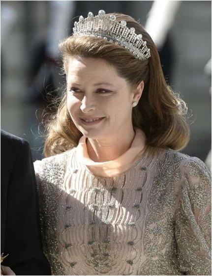 Princess Silvia d'Arenberg wearing Princess Sibilla's Art Deco Tiara at the wedding of Princess Madeleine.