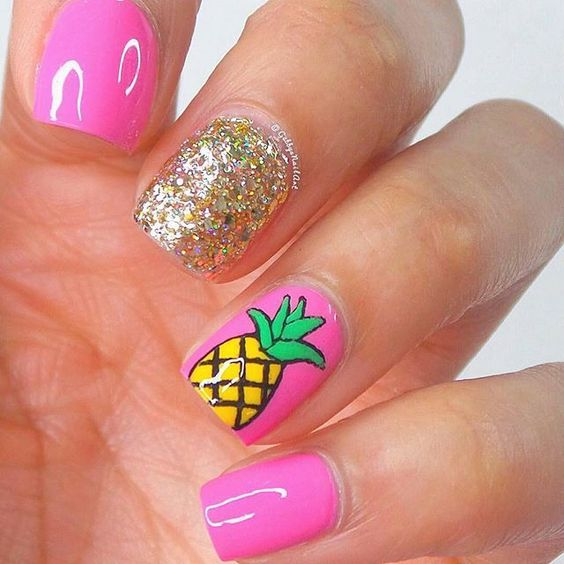 nice ♥ Daily nail art inspiration ♥ @allprettynailart Pink pineapple na...Instagram photo | Websta