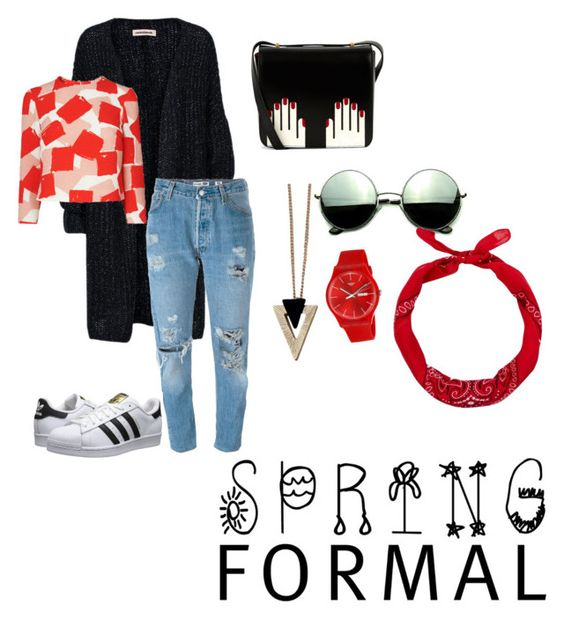 """""""Untitled #9"""" by burdian on Polyvore featuring Levi's, adidas Originals, Lulu Guinness, Chicnova Fashion, Revo, Swatch and New Look"""