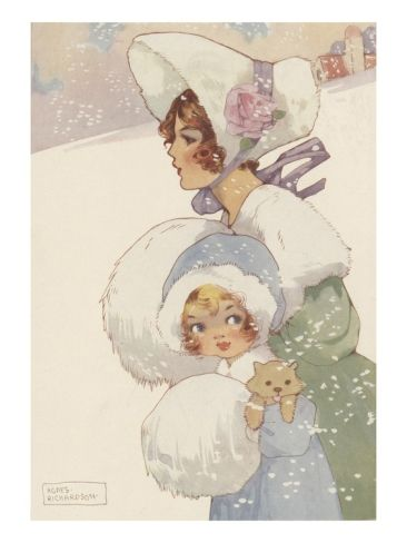 Illustration of woman and girl wearing muffs Giclee Print at Art.com: